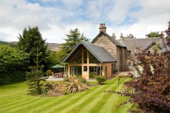 interior and exterior shots of craigatin house hotel new extension, pitlochry, perthshire, scotland