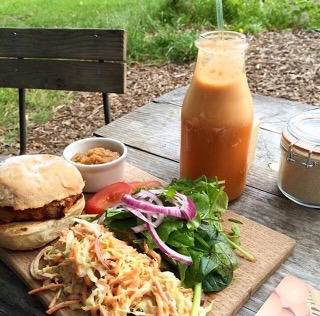 Veg Burger and fresh juice